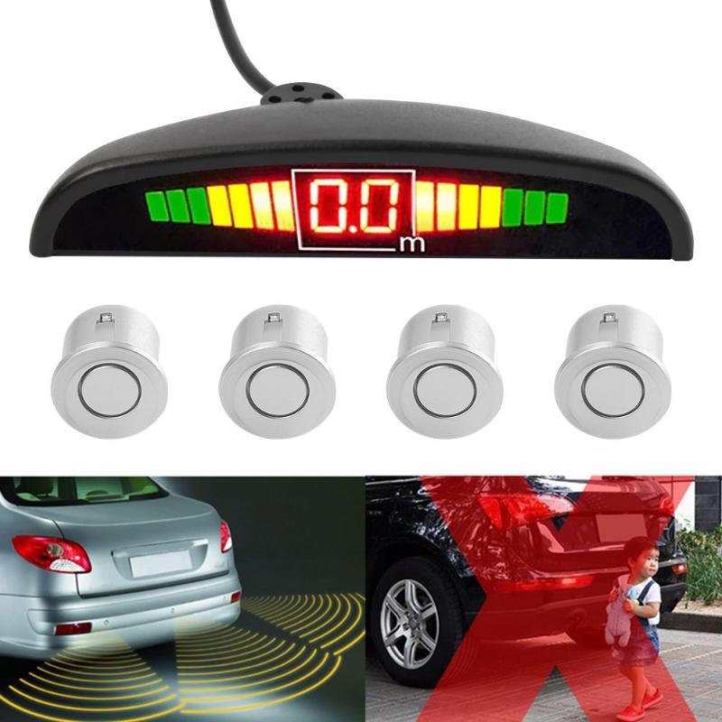 4Pcs Car Parking Sensor Reversing Radar Vehicle Backup Detector System Reversing Radar Probe Silver
