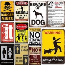 Warning Sign Vintage Metal Tin Signs Shop Prompt Sign Decorative Signboard Retro Plaque Nostalgia Plate for Gift