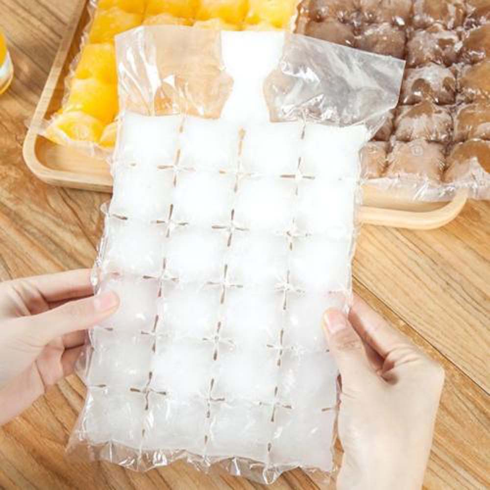 10Pcs 24 Grids Disposable Ice-making Bags Frozen Ice Cube Tray Mold Self Sealing