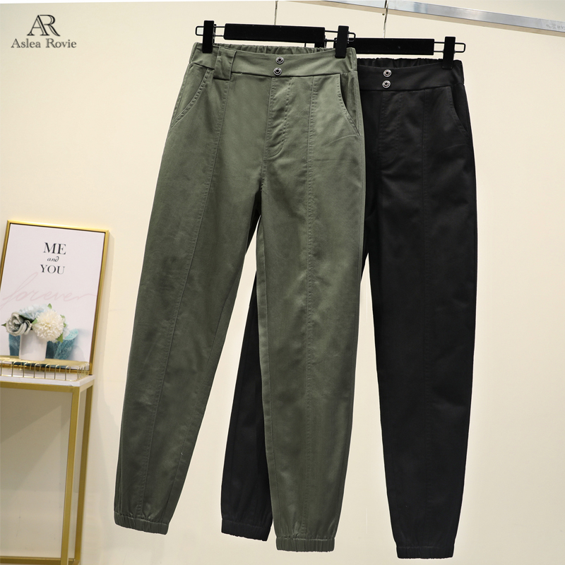 Cargo Pants  Women  High Waist  Plus Size  Casual Loose Broadcloth Elastic Waist Ankle-length Army Green Black  Trousers Women