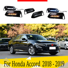 2pcs For Honda Accord 2018 2019 LED Daytime Running Lights DRL with Fog lamp hole Yellow Turn Signal lamp Blue Night light(China)