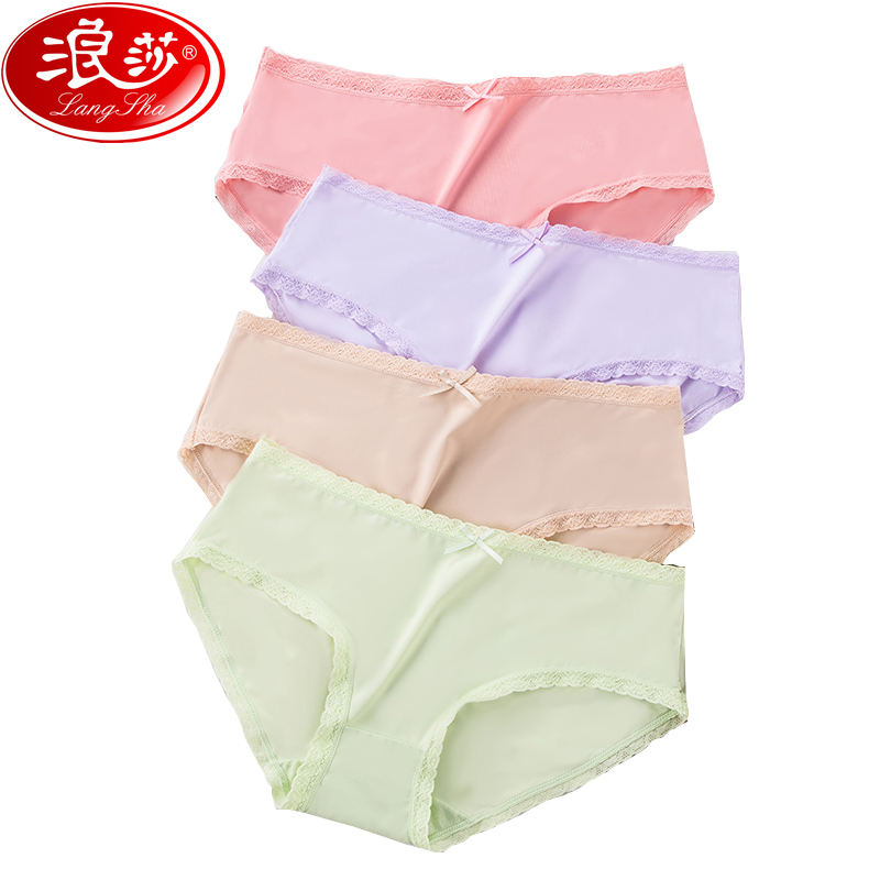 LANGSHA 3Pcs/lot Seamless Panties Set Women's Sexy Lace Thong Ice Silk Lingerie Panty Lovely Bow Briefs Girls Low Rise Underwear