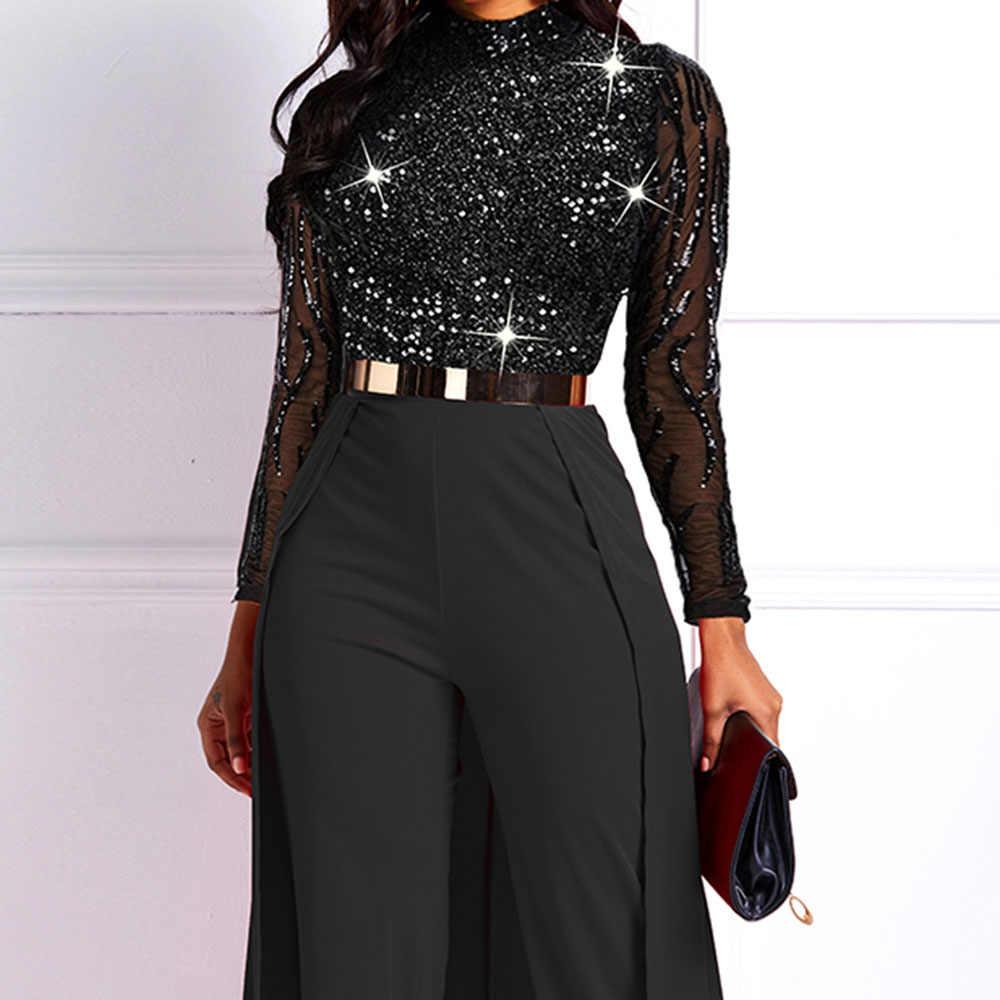 Cekiny seksowny kombinezon damski z długim rękawem siatkowe koronkowe przepuszczalne kombinezony na przyjęcie eleganckie klubowe modne afrykańskie damskie czarne pajacyki