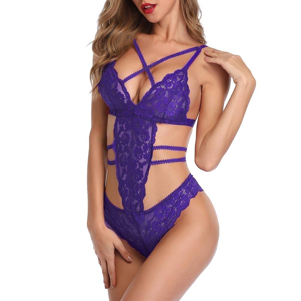 Women Lingerie Lace Bra and Panty Sets Satin Valentine Babydoll 2 Piece Bodysuit