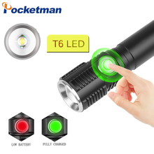 38000LM Flashlight Touch Switch Zoomable LED Flashlight USB Rechargeable Torch Waterproof LED Torch Use 18650 Battery