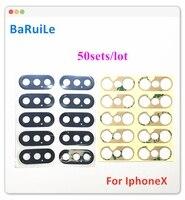BaRuiLe 50sets Zurück Kamera Glas Objektiv für iPhone X XS Max XR 11 Pro Max Hinten Cam Abdeckung Ring 3M Aufkleber Adhesive Ersatz Teil