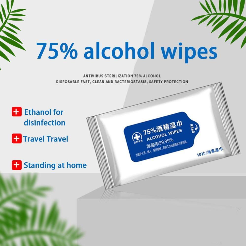10Pcs Wipe Disposable Wipes Disinfection Antiseptic Skin Cleaning Care Jewelry Mobile Phone Clean 75%Alcohol Wet  Wipe