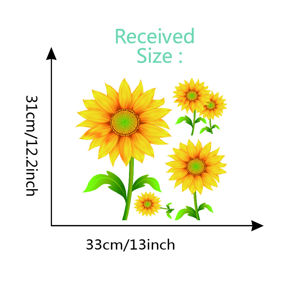 56 Pieces Sunflower Wall Stickers Removable Yellow Flower Decor Waterproof Decals For Baby Kids Room Kitchen Nursery Party Toys Games Murals