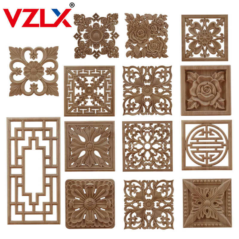 VZLX CAntique Woodcarving Wood Decal Carving Lines Wood Applique Wood Rose Rubber Home Decoration Accessories Cabinet Hot Sale