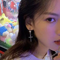 Kreuz Drop Stud Ohrringe für Frauen Einfache Ohrringe Damen Modeschmuck Mädchen Silber Farbe Elegante Vintage Metall Ohrringe