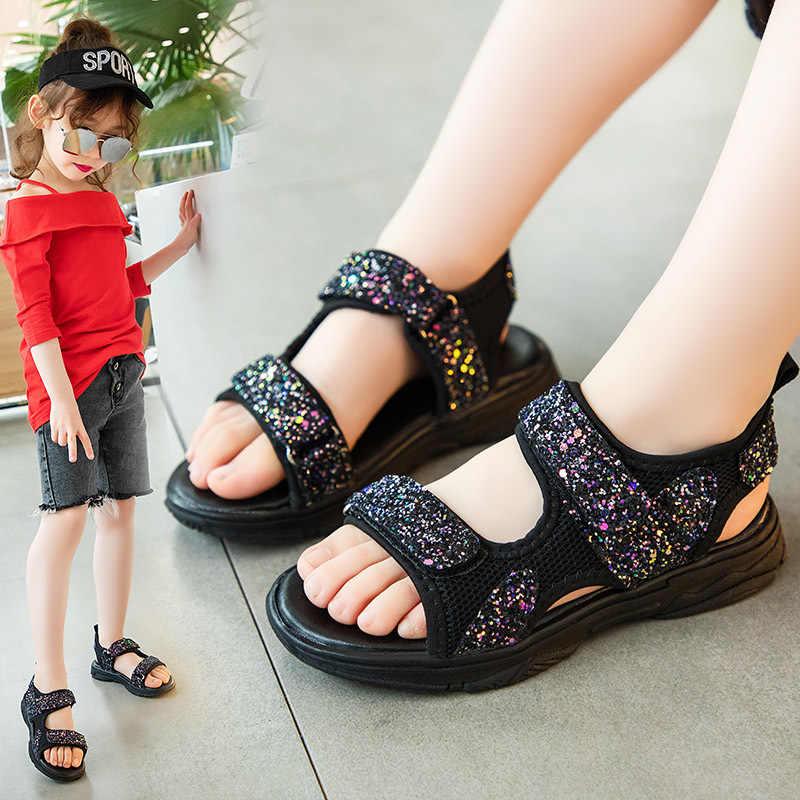 בנות בלינג סנדלי 2020 חדש קוריאני קיץ פעוט נעלי ילדים ילדי ילדה Pu וו לולאה נסיכת גומי לבן סנדלי תינוק נעל