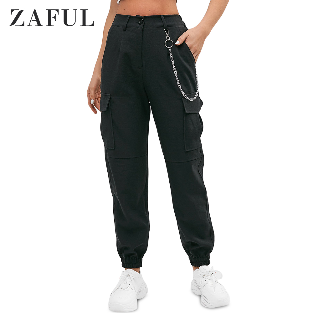 ZAFUL Chain Flap Pockets High Waisted Jogger Pants High Waist Solid Women's Pants Autumn Outdoor Streetwear Popular Pant 2019