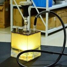 High Quality Transparent Smoking Acrylic Aluminium Alloy Square Chicha Bottle Retail Cube Shisha