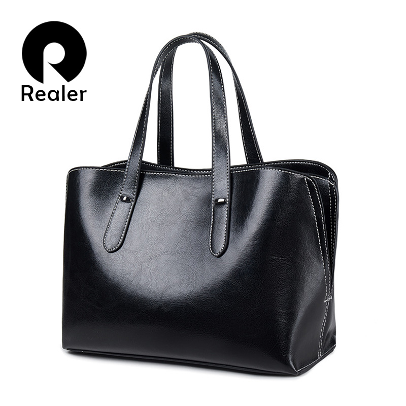 REALER Leather Luxury Handbags Women Bags Designer 2019 Fashion Shoulder Bag Quality Leather Crossbody Bags Women Messenger Bag