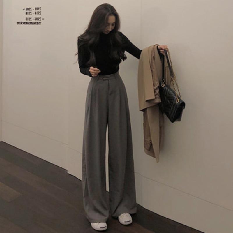 YAMDI high waist women pant female spring autumn 2020 wide-leg long flare pants woman elegant solid chic maxi trouser pantalon