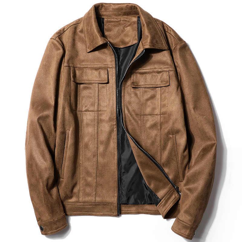 Gaaj d35 남성 자켓 가짜 가죽 패션 브라운 봄 가을 작업자 전술 코트 턴 다운 칼라 겉옷 자켓 남성