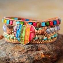 Romântico espiritual chakra couro wrap pulseiras com mix pedra coração forma 3 vertentes pulseira clássico bijoux dropshipping