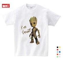 цены Baby I Am Groot T Shirt For Kids Summer Short Sleve Tee Tops Clothes Children Funny T-shirts Boy Girls Cartoon 100% Cotton Shirt