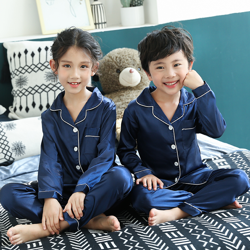 Christmas Pajamas Baby Autumn Winter Long Sleeve Silk Sleepwear Set Solid Color Comfort Girl Boy Nightwear Clothing 2