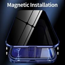 Luksusowe etui na całe ciało dla iPhone 12 Pro Max etui magnetyczne etui na szybę Anti peeping dla iPhone 12 Mini 12 Pro 12 Max okładka