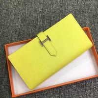 Kafunila luxury brand genuine cow leather long wallet women slim designer credit card holder female purse high quality clutches