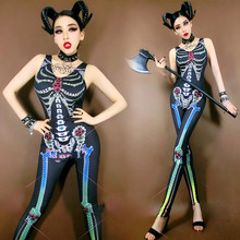 Bar Halloween Party Vampire Cosplay Skull Print Zombie Jumpsuit Jazz Prestaties Kostuum Lady Nachtclub Rave Kleding DNV13111(China)