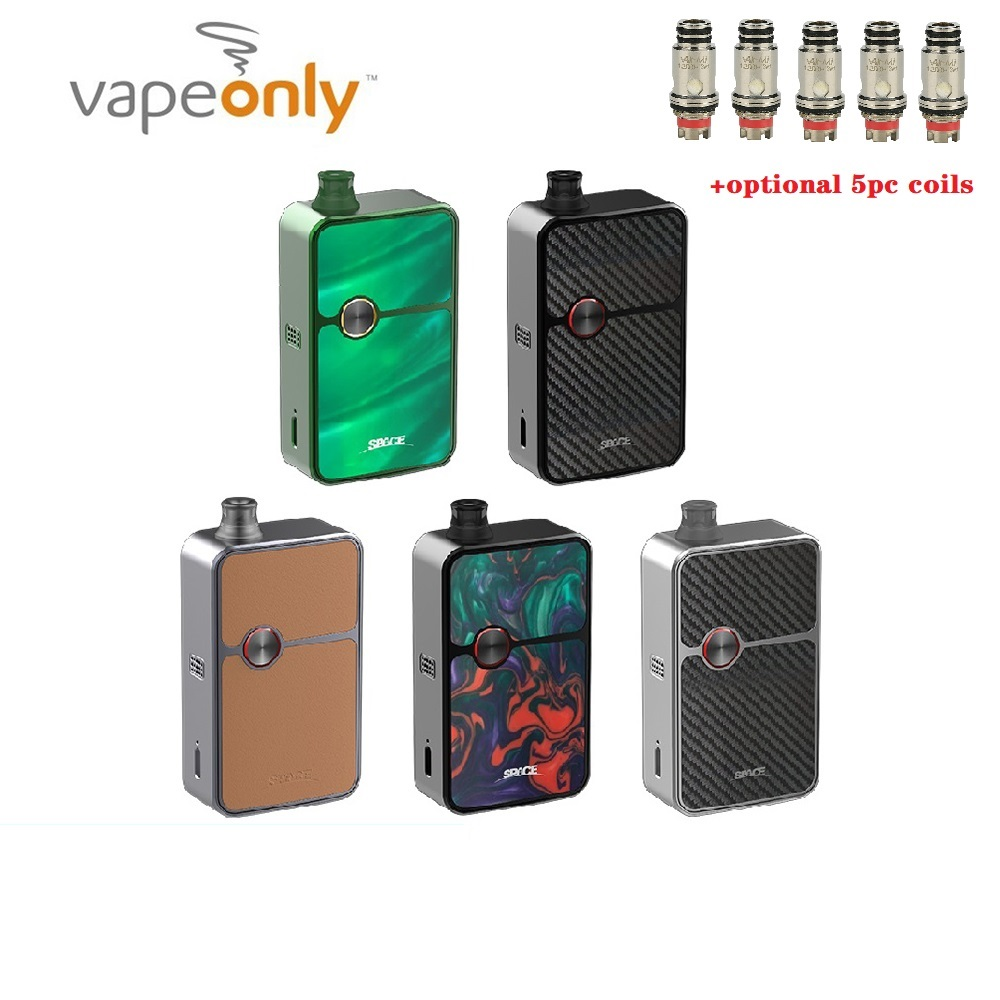 Original 60W VapeOnly Space Mod Pod Kit With RBA Base With 0.4ohm/0.6ohm/ 1.2ohm VAir-Mi Coil Box Mod Vs Vinci Air / Target PM80