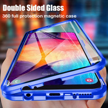 360 Proteção completa Caso Magnético Para Samsung Galaxy S20FE M51 A51 A21S M21 M31 A71 A31 A41 A70 A50 A11 Double-sided Tampa De Vidro