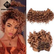 Spring sunshine Ombre Hair Bundles Afro Kinky Curly Hair 6 Inch Short Synthetic Hair Weaving Afro Braiding Jerry Curl Extension(China)