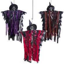 Halloween Horror Hanging witch Scary voice control hat rag pendant bar secret room horror Decoration