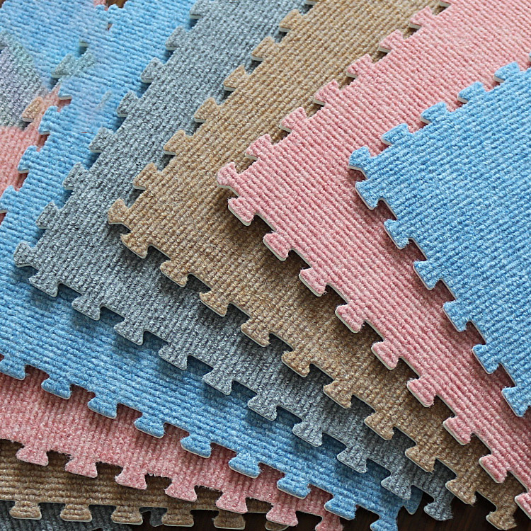 Meitoku EVA Form Puzzle Play Mat,Stripe Villus Tiles,Rug And Carpet,Soft ,Safety     Each:32x32cm, 9pc/bag   ,[No Edge]