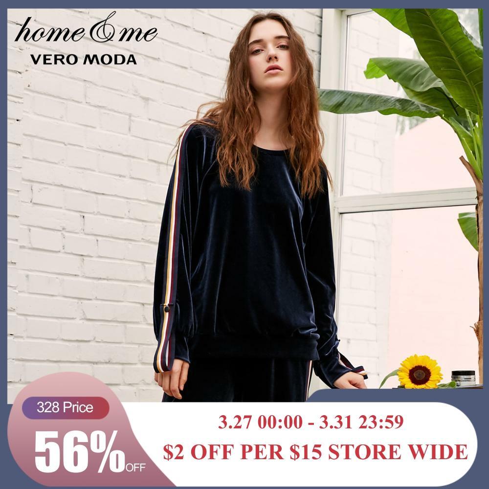 Vero Moda Autumn Striped Velvet Casual Sweat Hoodies | 3184R3501