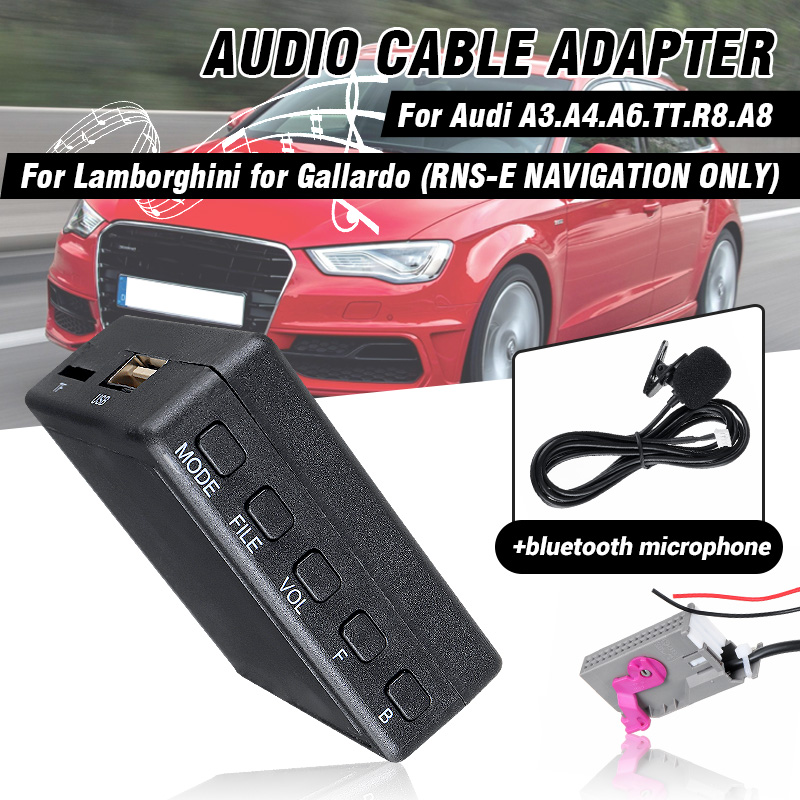 <font><b>12V</b></font> Car <font><b>bluetooth</b></font> 5.0 HIFI Audio Module <font><b>AUX</b></font> Microphone Cable <font><b>Adapter</b></font> Radio Stereo for Audi A3 A4 A6 A8 TT R8 for RNS-E CD Unit image