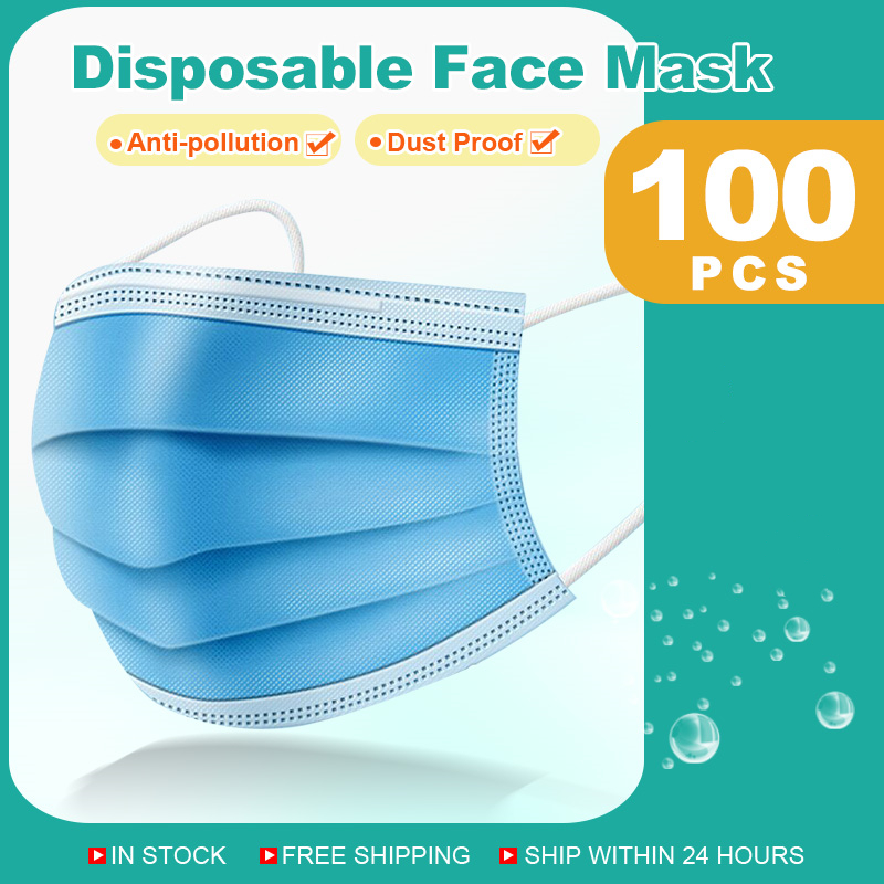 Disposable Masks 3-layer Non-Woven Face Mask Anti Dust Mouth Mask Protection Breathing Soft Protective Mask 10/50/100/200 Pcs