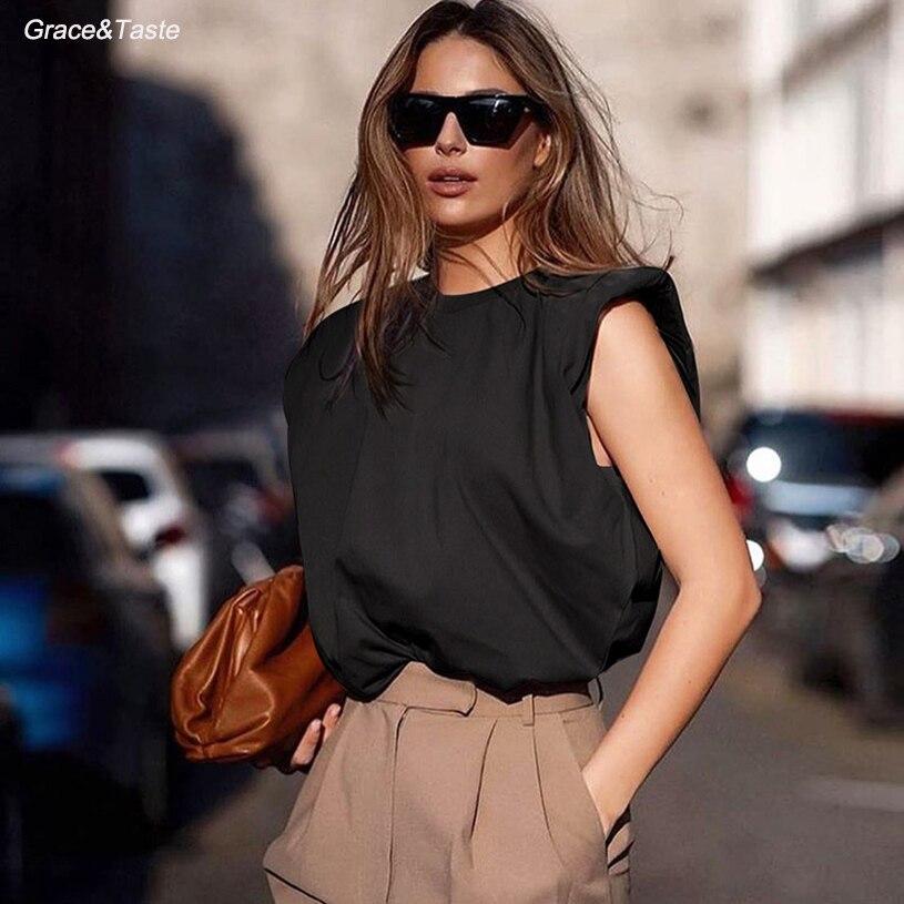 Vest T-Shirt Base-Jacket Shoulder-Pad Summer-Style Fashionable Sleeveless Fan Loose Temperament