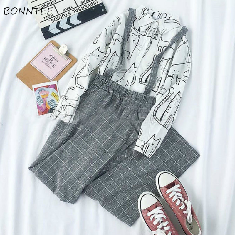 Jumpsuits Women Loose Plaid Casual Pockets Ankle-length Leisure All-match Korean Style Trendy Fashion Daily Womens Overall Chic