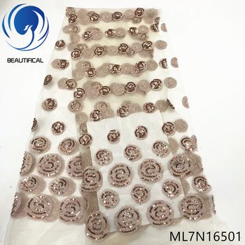 BEAUTIFICAL Laces sequins fabrics hot sale sequins embroidery circle tulle lace fabric for dress nigerian lae fabrics ML7N165