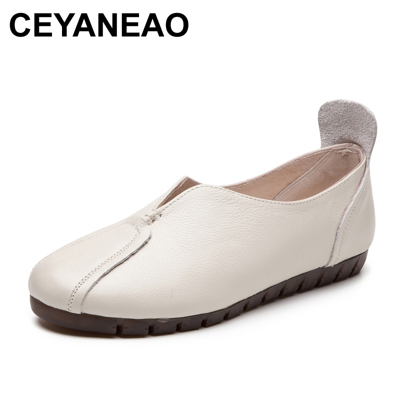 CEYANEAO2020 spring large size flat shoes cow leather shoes woman flats shallow mouth fashionable leisure shoes women moccasins