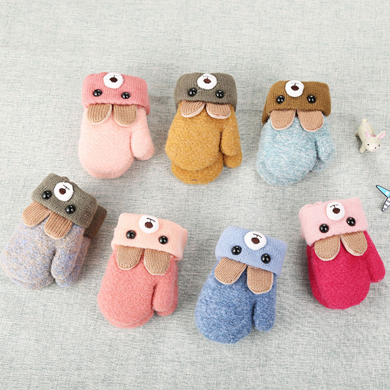 0-3 Years Old Cute Bear Ears Baby Gloves Winter Knit Wool Velvet Thick Mittens