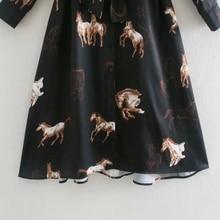 Autumn Women Horse Print Sashes Turndown Collar Shirt Dress Female Long Sleeve Clothes Casual Lady Slim Vestido D6793