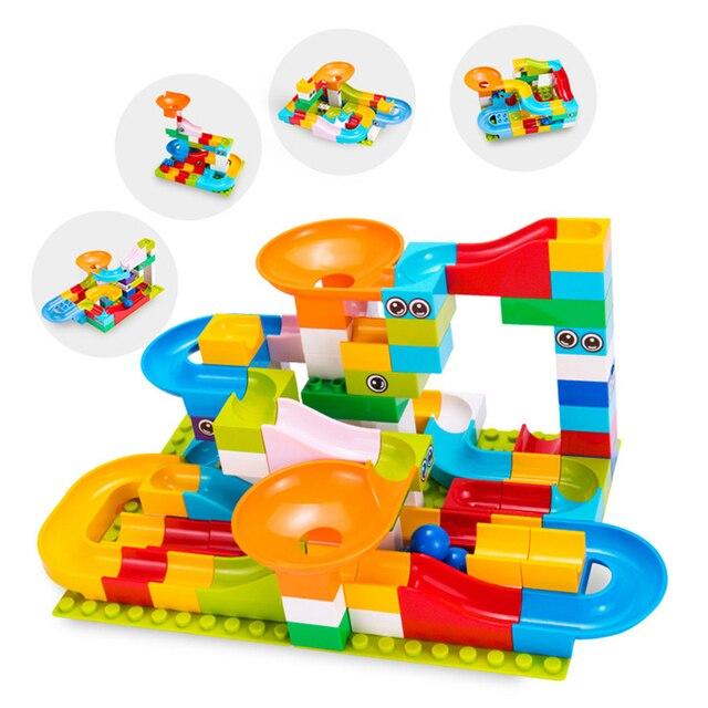 Marble Race Big Block Compatible Duploed Building Blocks Funnel Slide Blocks DIY Big Bricks Toys For Children Gift