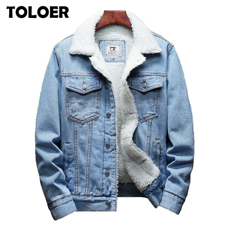 NEW Men Winter Fur Lined Fleece Denim Jean  Outerwear Jacket Coat Parka M-4XL