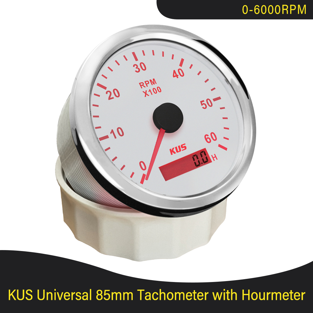 KUS Marine Outboard Tachometer 6000RPM With LED Hourmeter Boat Truck Car RV Waterproof Meter Red and Yellow Backlight available