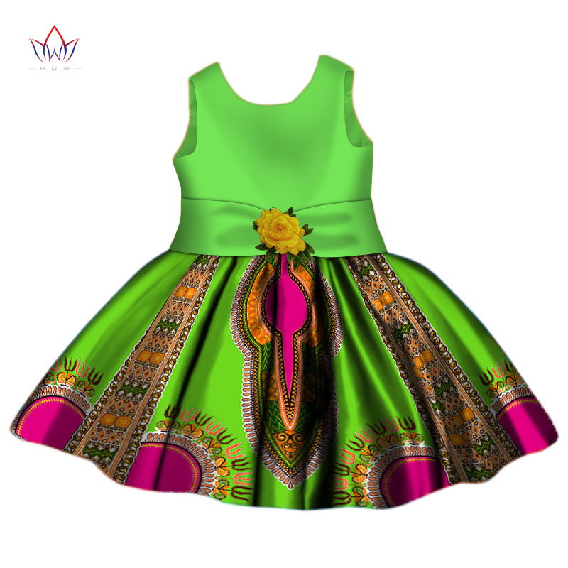 2020 African Dress Patterns Dashiki O-neckTraditional Cotton Dresses Sleeveless African Clothing For Children None WYt268