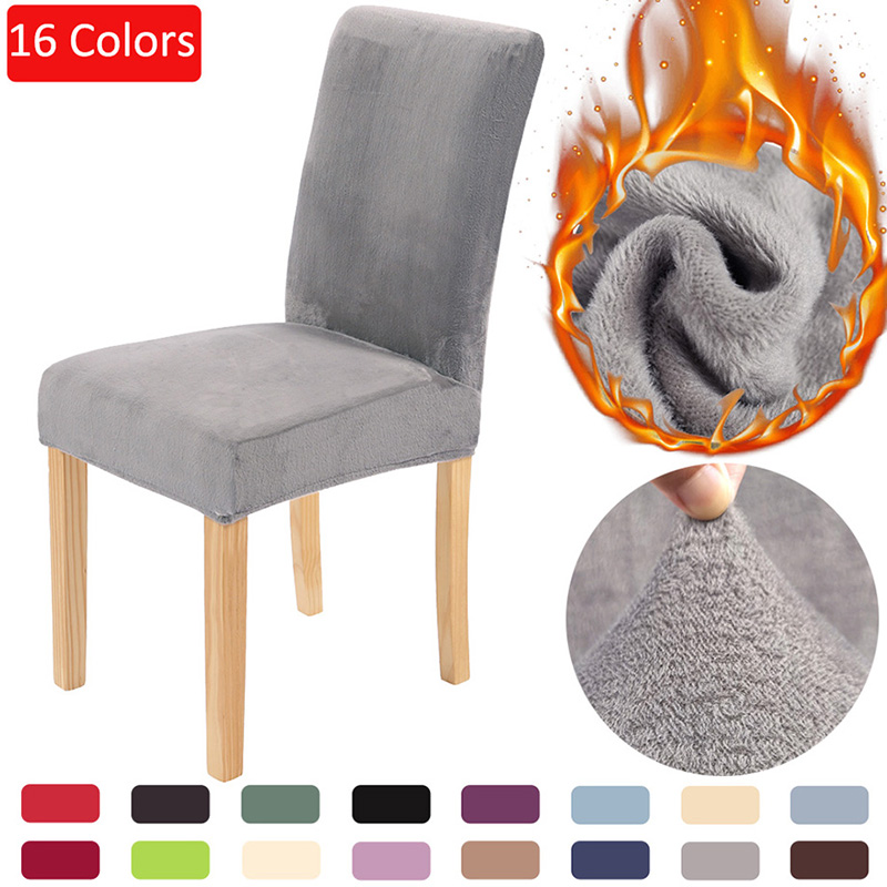 Solid Color Dining Chair Cover Velvet Chair Covers Spandex Warm Soft Fluff Seat Cover Wedding Kitchen Office Restaurant Dropship