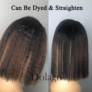 Image 5 - Verworrene Gerade 13x6 Spitze Front Menschliches Haar Perücken 180 Dichte Grob Yaki Brazilian Short Bob 360 Spitze Frontal perücke Dolago Volle