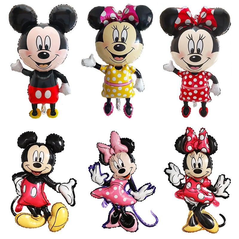Большие Мультяшные фольгированные воздушные шары Микки и Минни Маус, украшения для дня рождения, детские игрушки, воздушные шары для праздн...
