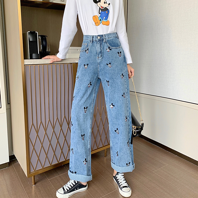 Embroidered Cartoon Loose-wash High-waisted Jeans With Cute Straight Leg Trousers For Girls And Trousers For Students