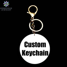 SOMESOOR Wholesale Custom Round Keyholder With Silver Golden Keychiain 6cm Personalized Print Wood Pendant For Women Gifts 10Pcs(China)