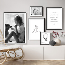 цена Flower Balloon Dog Love Quote Nordic Posters And Prints Wall Art Canvas Painting Black White Wall Pictures For Living Room Decor онлайн в 2017 году